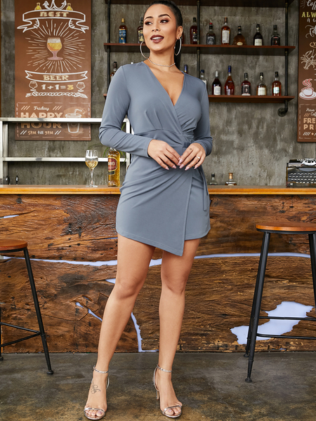 YOINS Adjustable Wrap Design V-neck Dress