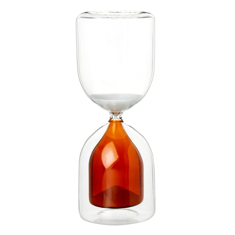 Sanduhr aus Glas, braun und transparent