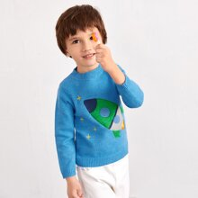 Toddler Boys Rocket Embroidery Mock Neck Sweater