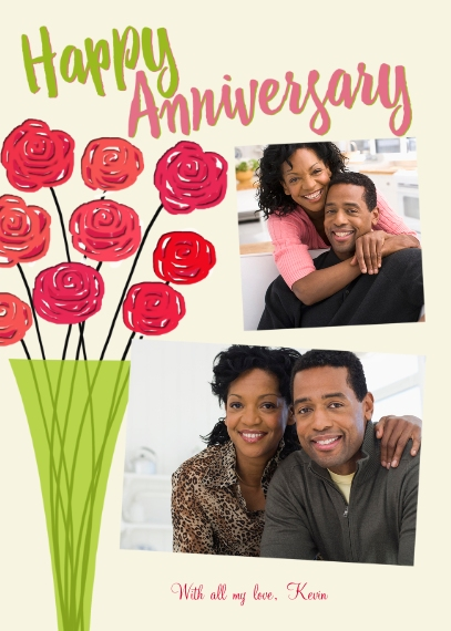 Anniversary 5x7 Folded Cards, Premium Cardstock 120lb, Card & Stationery -Happy Anniversary Flowers