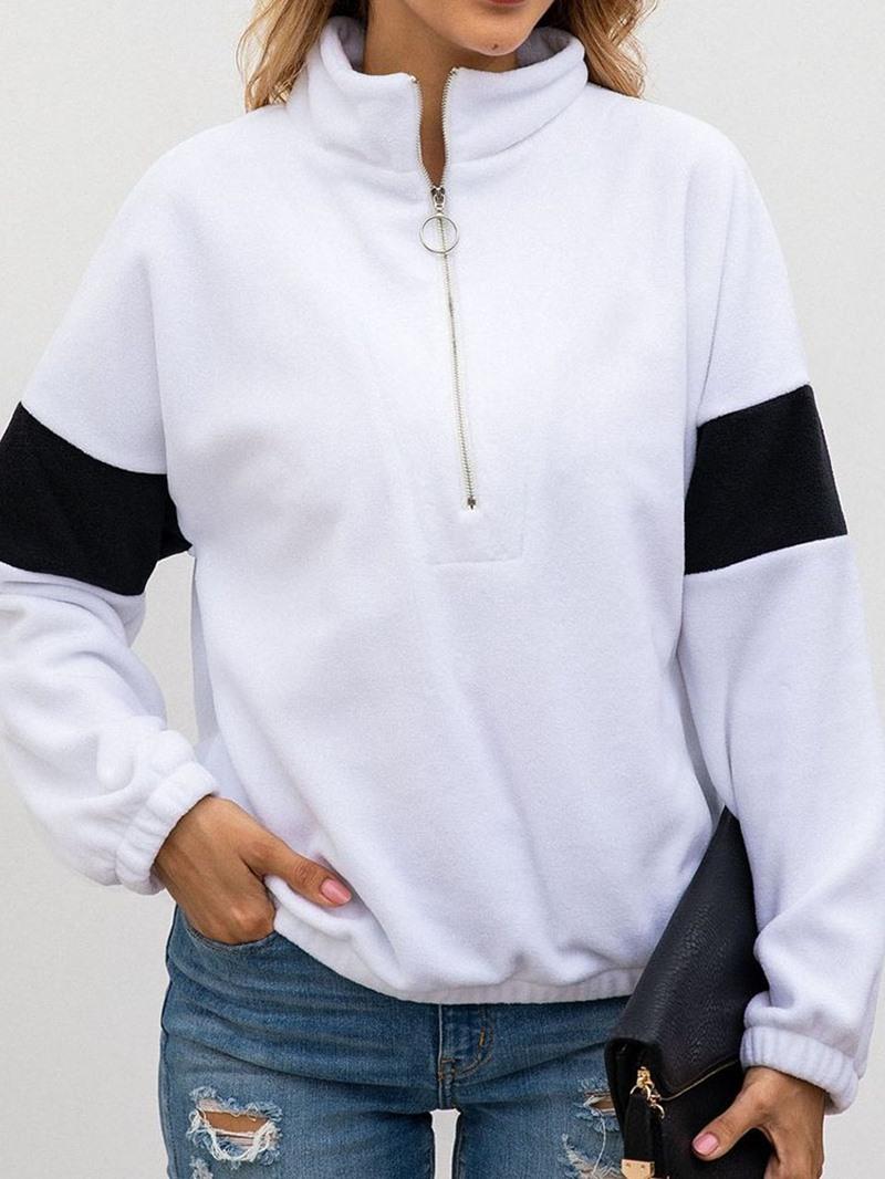 Ericdress Regular Color Block Zipper Short Long Sleeve Hoodie