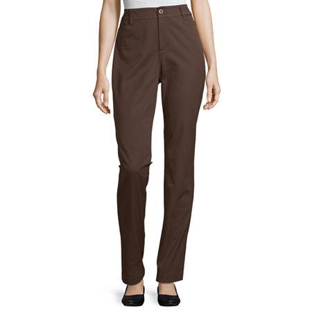 St. John's Bay-Tall Regular Fit Straight Trouser, 4 Tall , Brown