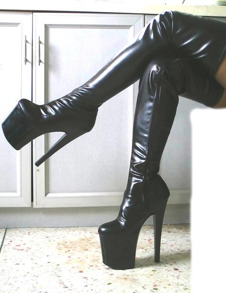Milanoo Black Sexy Boots Thigh High Boots Women Platform Almond Toe Stiletto Heel Over The Knee Boots
