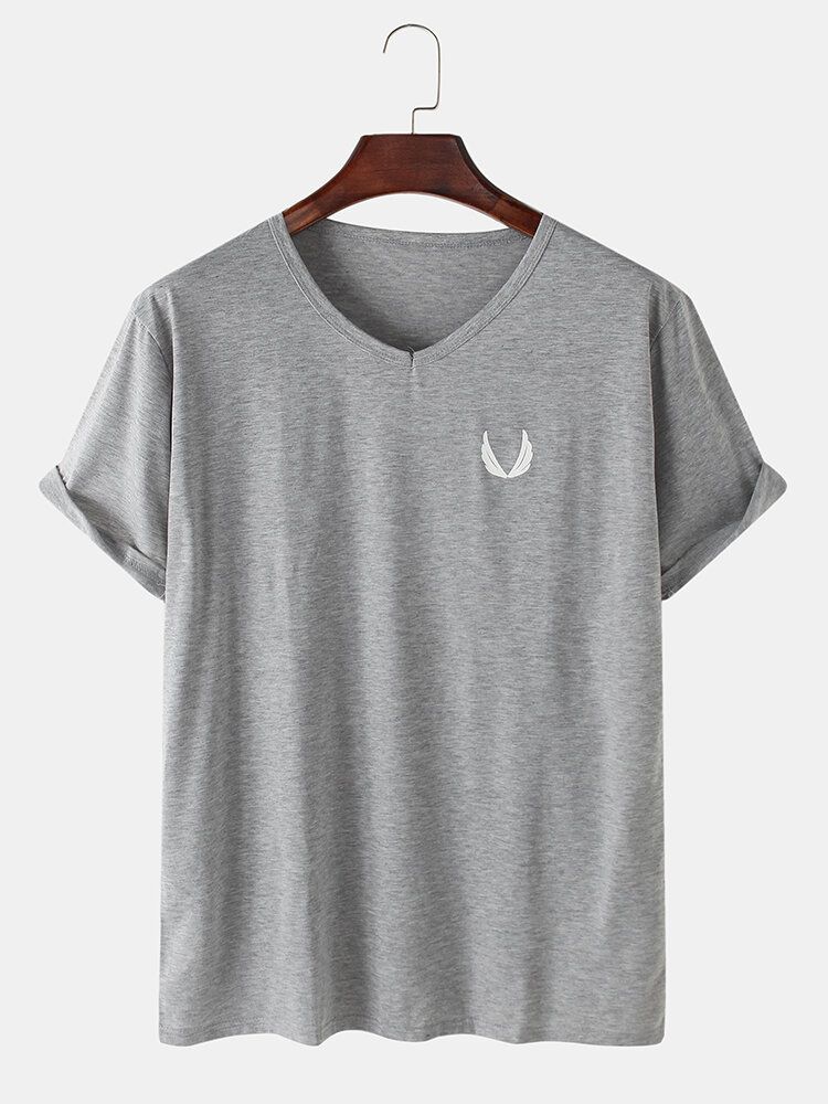 Mens Solid Color Wing V-Neck Loose Thin Cotton Short Sleeve T-Shirt