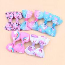 10 piezas horquilla de niñitas con lazo con arcoiris