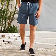 Men Contrast Fishnet Drawstring Waist Track Shorts