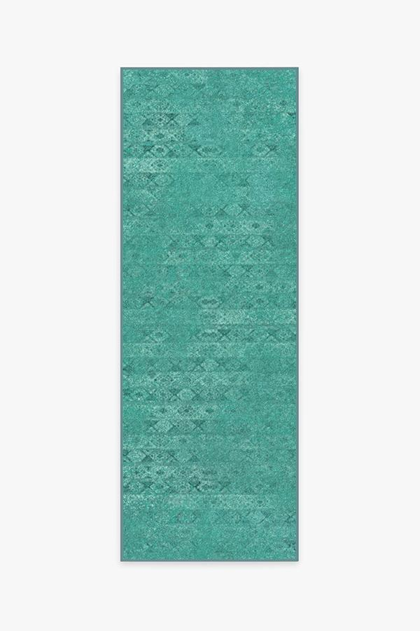 Washable Rug Cover | Gabbeh Teal Blue Rug | Stain-Resistant | Ruggable | 2.5'x10'