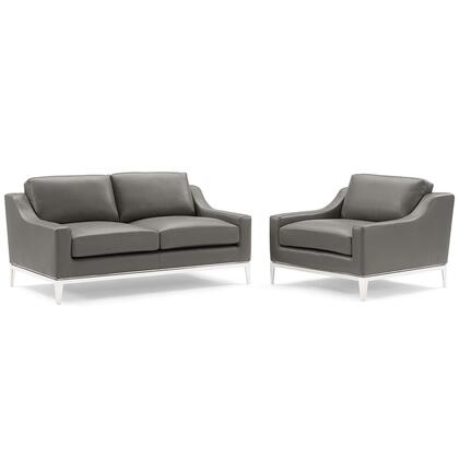 Harness Collection EEI-4200-GRY-SET Stainless Steel Base Leather Loveseat & Armchair Set in Gray