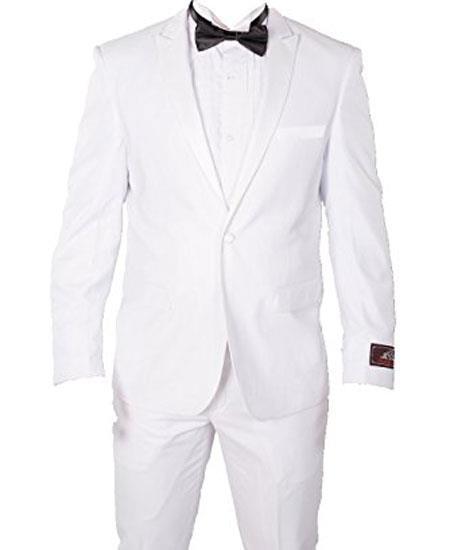 Mens 1 Button White Slim Cut Peak Lapel Wool Tuxedo