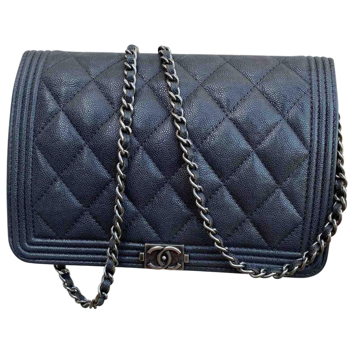 Chanel - Sac a main Wallet on Chain pour femme en cuir - anthracite