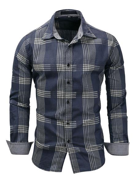 Milanoo Camisa a cuadros de mezclilla de ajuste regular para hombre