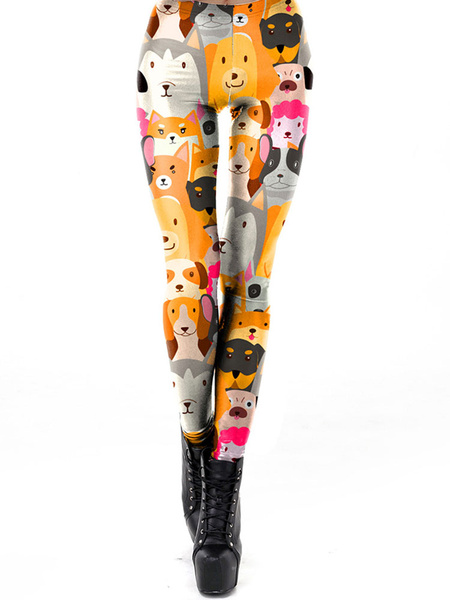 Milanoo Stretchy Leggings 3D Print Dog Women Leggings