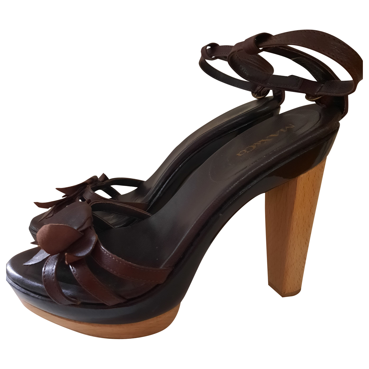 Max & Co N Brown Leather Sandals for Women 38 IT