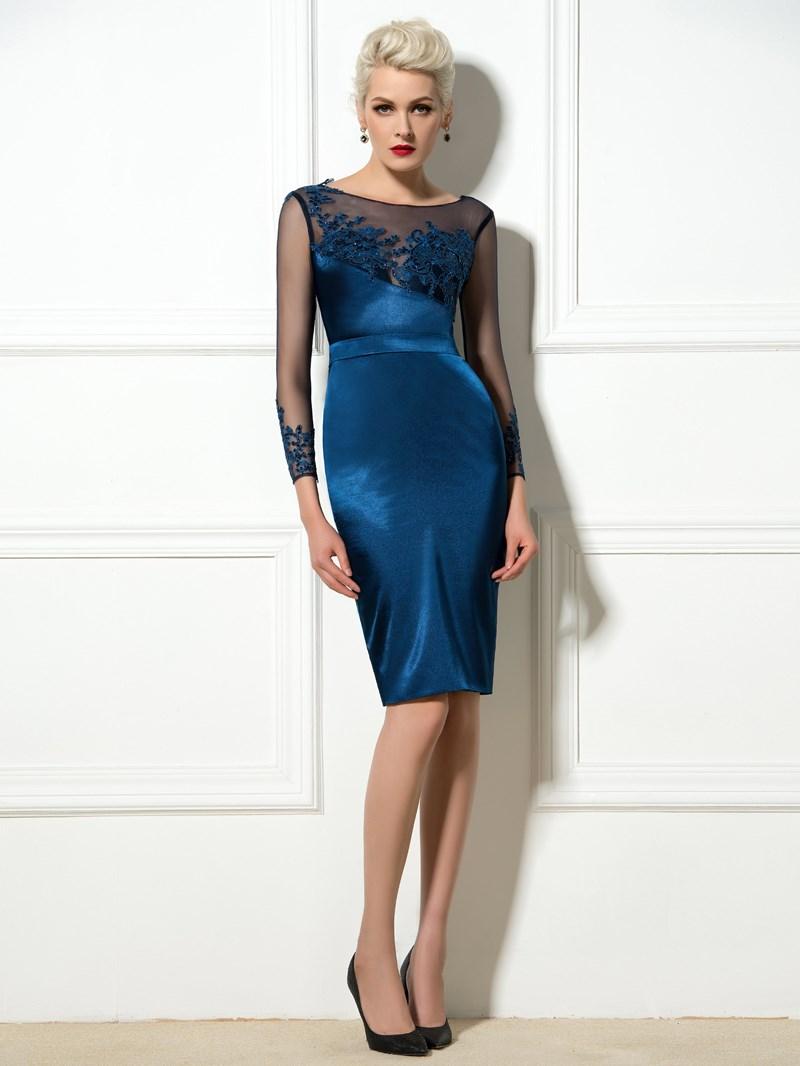 Ericdress Long Sleeve Appliques Knee-Length Cocktail Dress