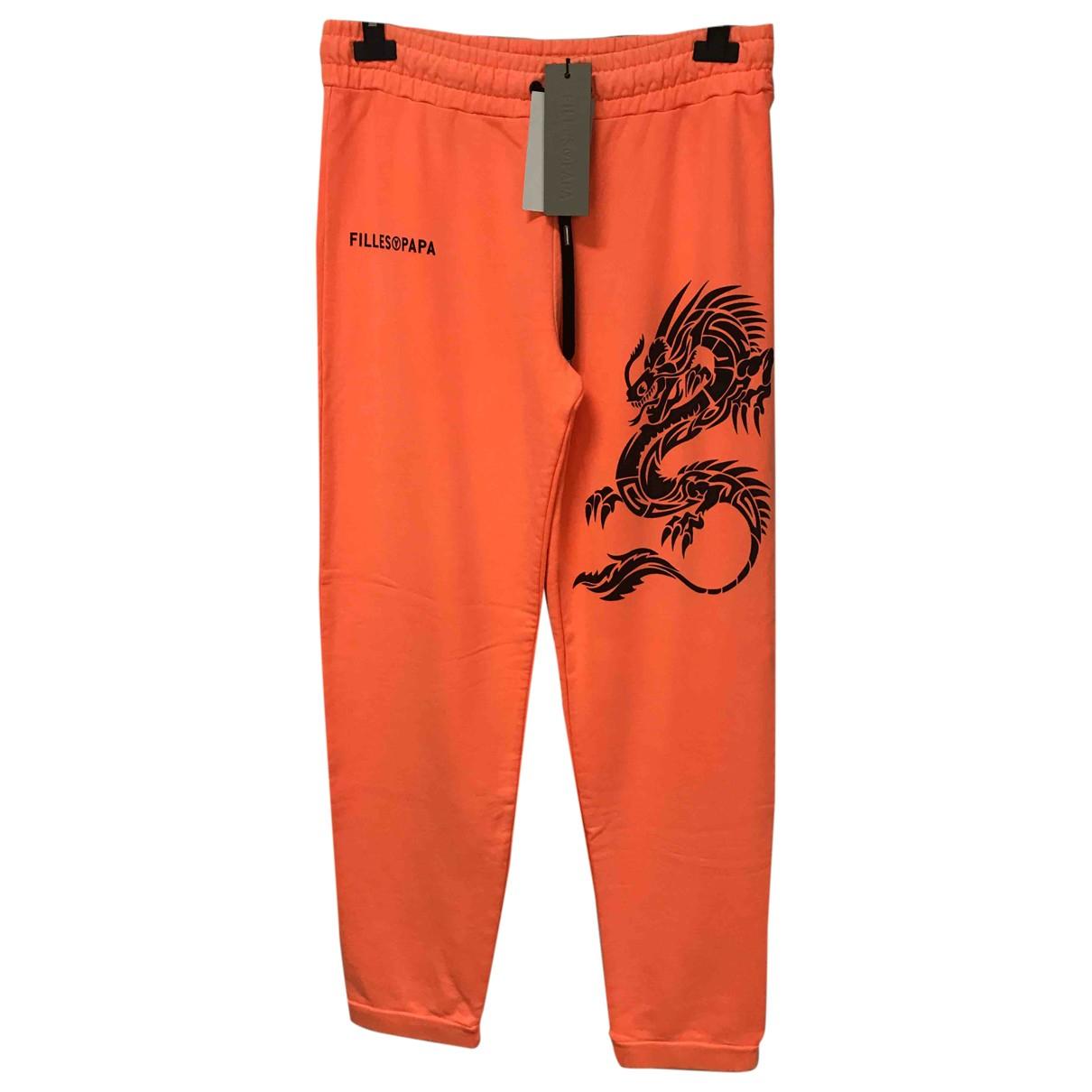 Filles À Papa \N Orange Cotton Trousers for Men M International