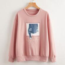 Cat And Letter Graphic Drop Shoulder Sweatshirt