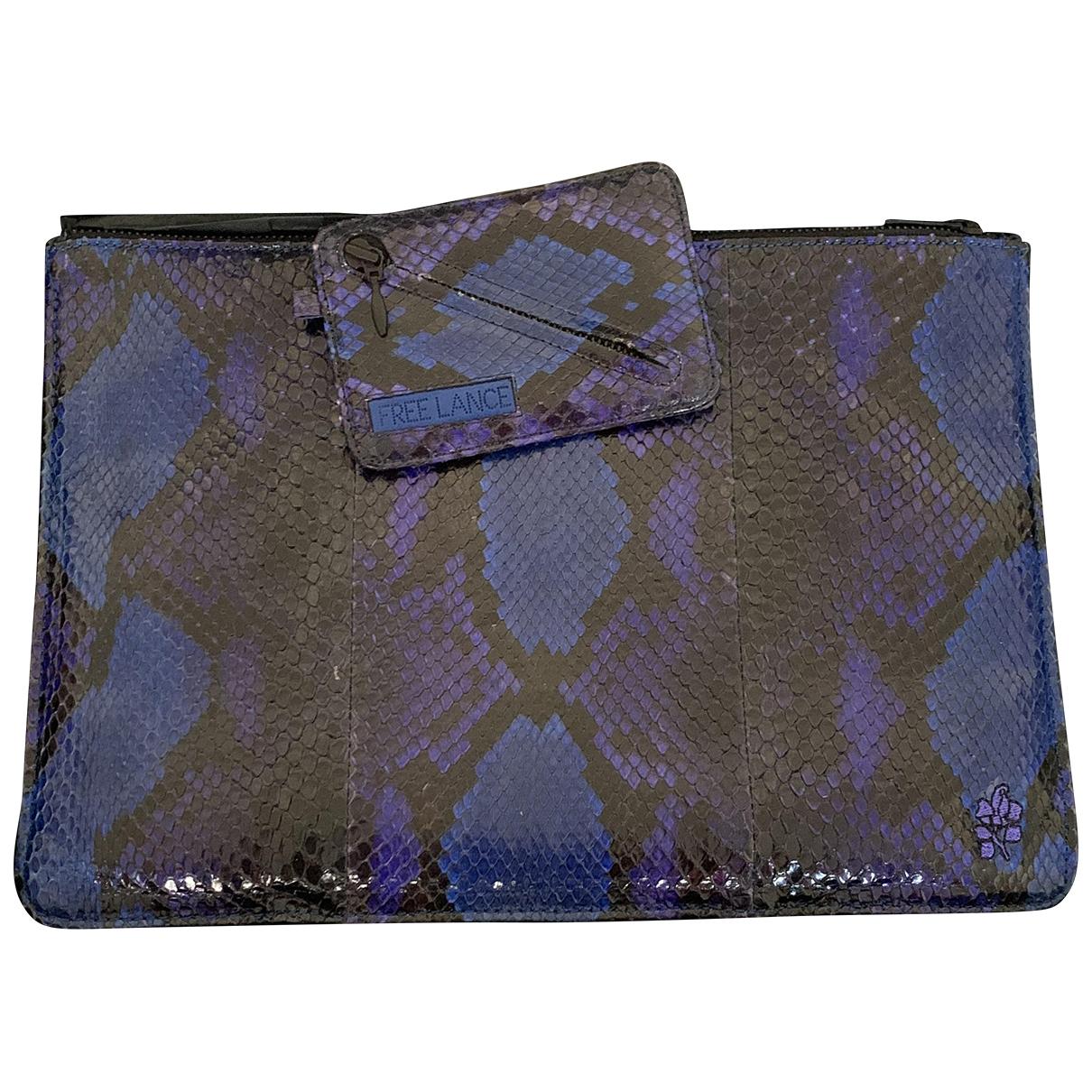 Free Lance - Pochette   pour femme en python - bleu