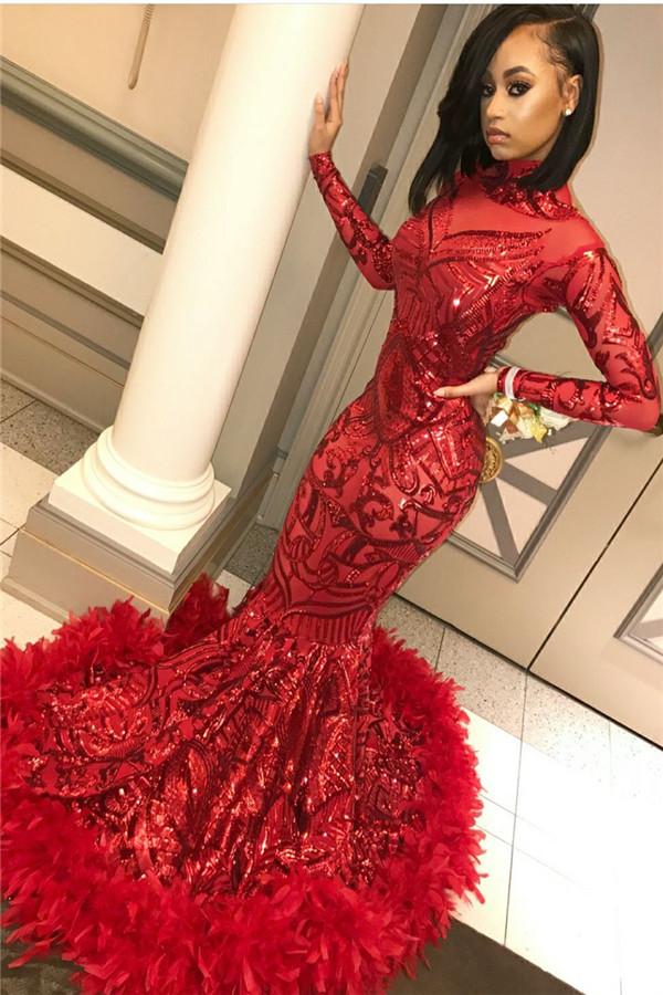 Lentejuelas sirena borgoña manga larga cuello alto vestidos de baile