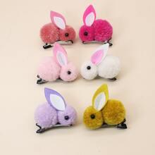 6 piezas horquilla con patron conejo de niñitas