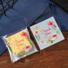 1pcs Flower Print Clear Biscuit Packaging Bag