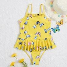 Girls Butterfly Print Ruffle Hem One Piece Swimsuit