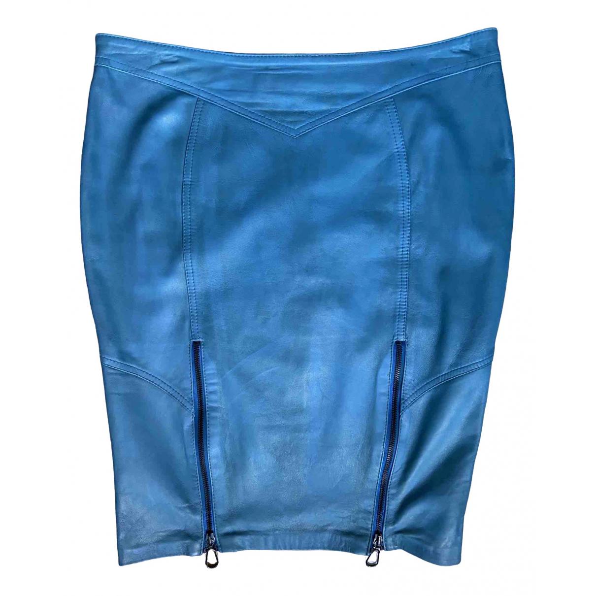Falda midi de Cuero Versace Jeans