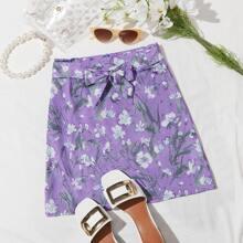 Tie Waist Floral Print Skirt