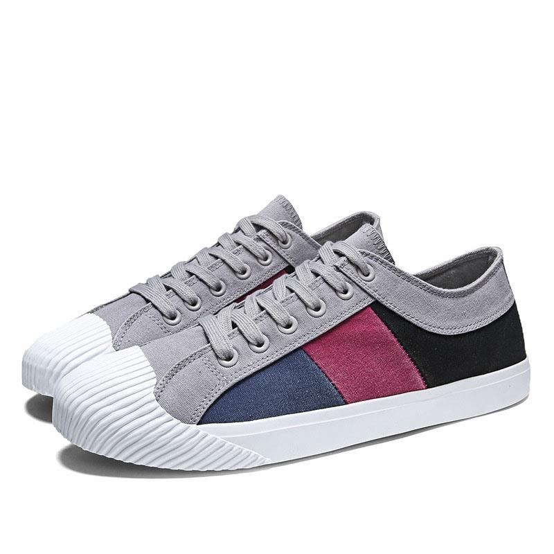 Ericdress Canvas Color Block Lace-Up Men's Simple Skate Shoes