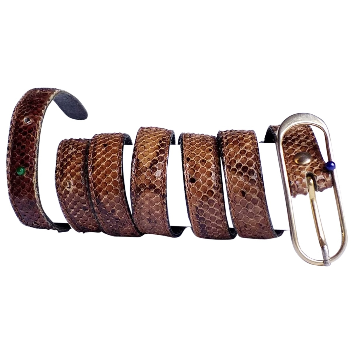 Non Signé / Unsigned \N Brown Exotic leathers belt for Women 85 cm