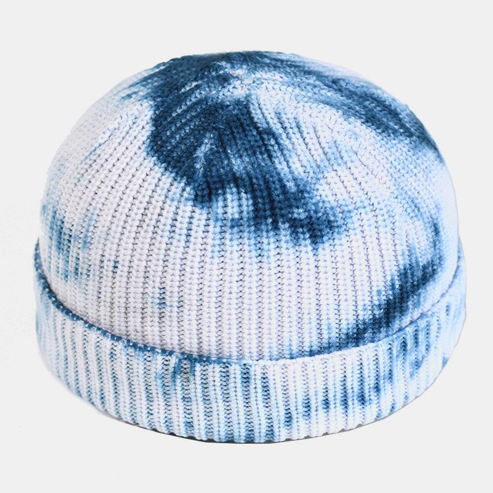 Men Tie-dyed Cotton Round Top Warm Melon Brimless Beanie Skull Hat Knit Hat