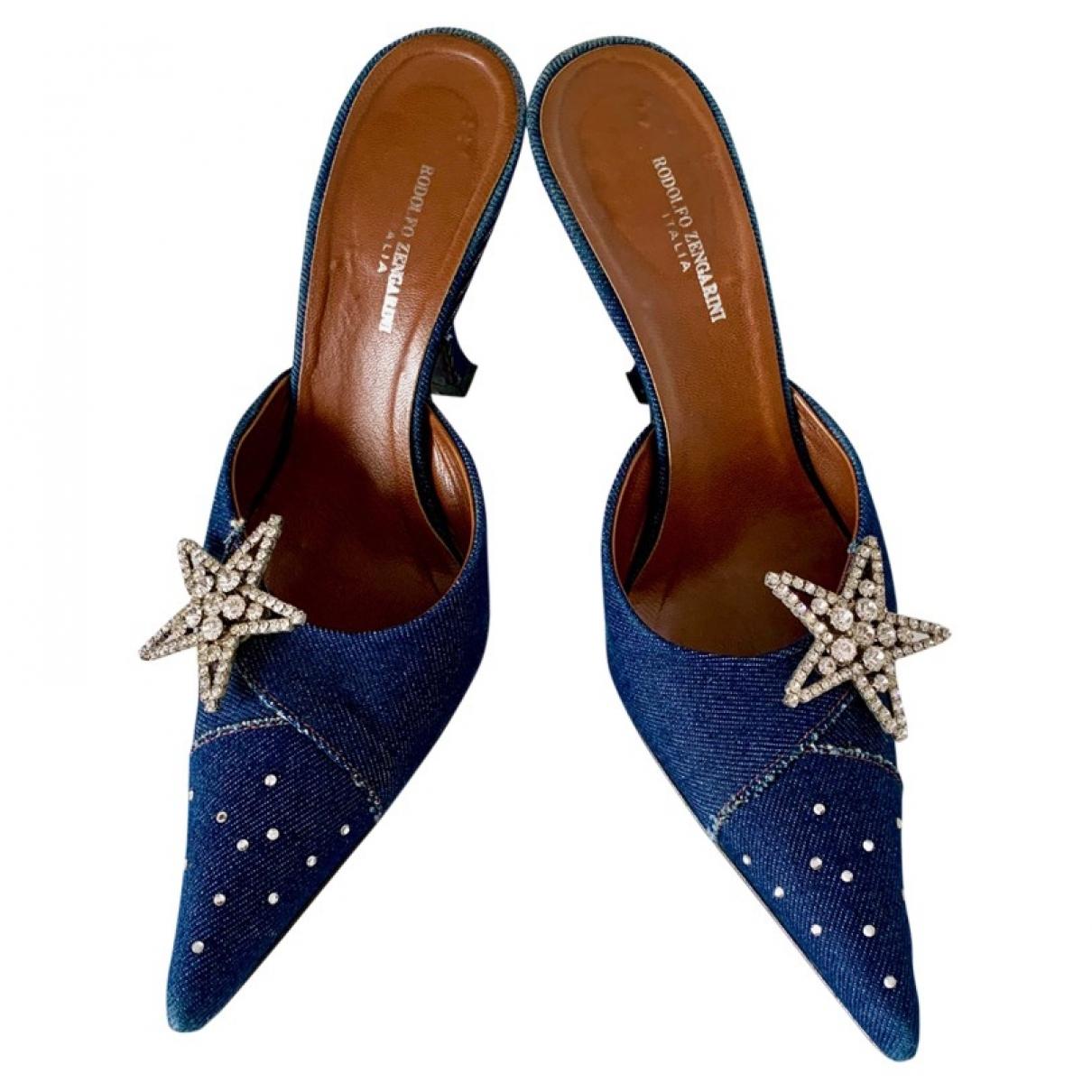 Non Signé / Unsigned Hippie Chic Blue Cloth Sandals for Women 37 EU