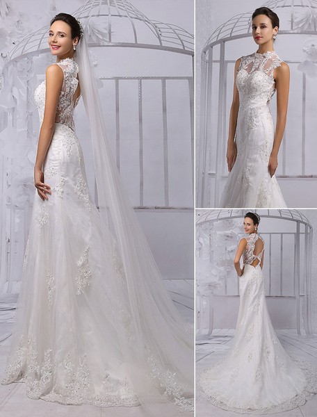 Milanoo Lace Illusion High Neck Back Keyhole Sheath/Column Bridal Gown With Chapel Train(Veil isn't included)