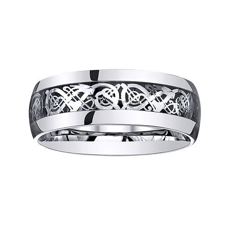 Personalized Mens Filigree Inlay Stainless Steel Wedding Band, 13 , No Color Family