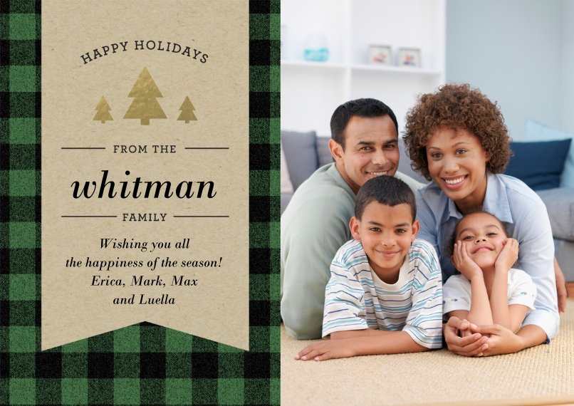 Christmas Photo Cards 5x7 Cards, Standard Cardstock 85lb, Card & Stationery -Holiday Plaid