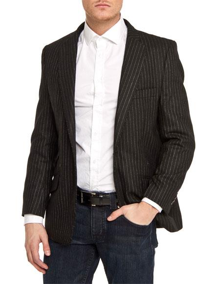 Men's Single Breasted Black Slim Fit Pinstripe 1 Button Blazer