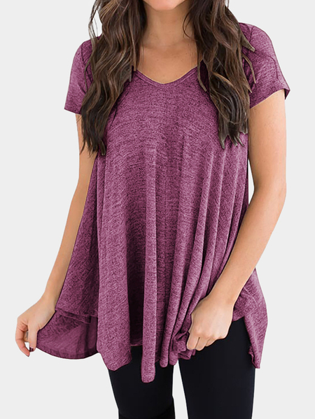 Yoins Pleated Design V-neck Short Sleeves Irregular Hem Tee
