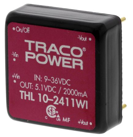 TRACOPOWER THL 10WI 10W Isolated DC-DC Converter Through Hole, Voltage in 9 → 36 V dc, Voltage out 5V dc