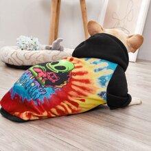 1 Stueck Hund Pullover mit Batik Muster und Kapuze
