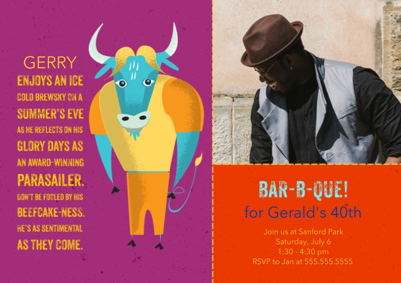 Birthday Party Invites 5x7 Cards, Standard Cardstock 85lb, Card & Stationery -Animal Personality BBQ Bull