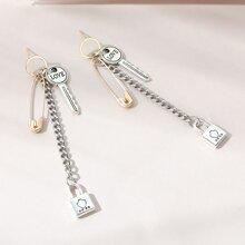 Safety Pin & Key Drop Earrings