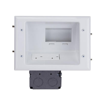 Recessed Low Voltage Mid-Size Plate with 20 Amp Duplex Receptacle, White - Monoprice®