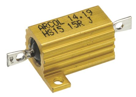 Arcol HS15 Series Aluminium Housed Axial Wire Wound Panel Mount Resistor, 15Ω ±5% 15W