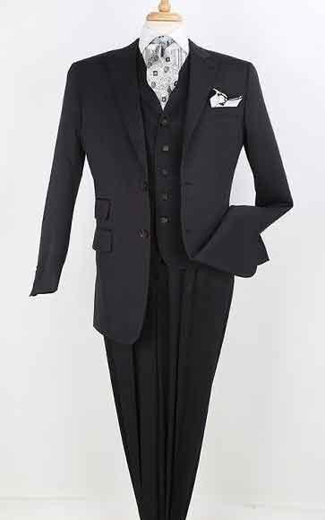 Mens 100% Wool 2 Button Pants Black Shadow Ton Stripe Pinstripe