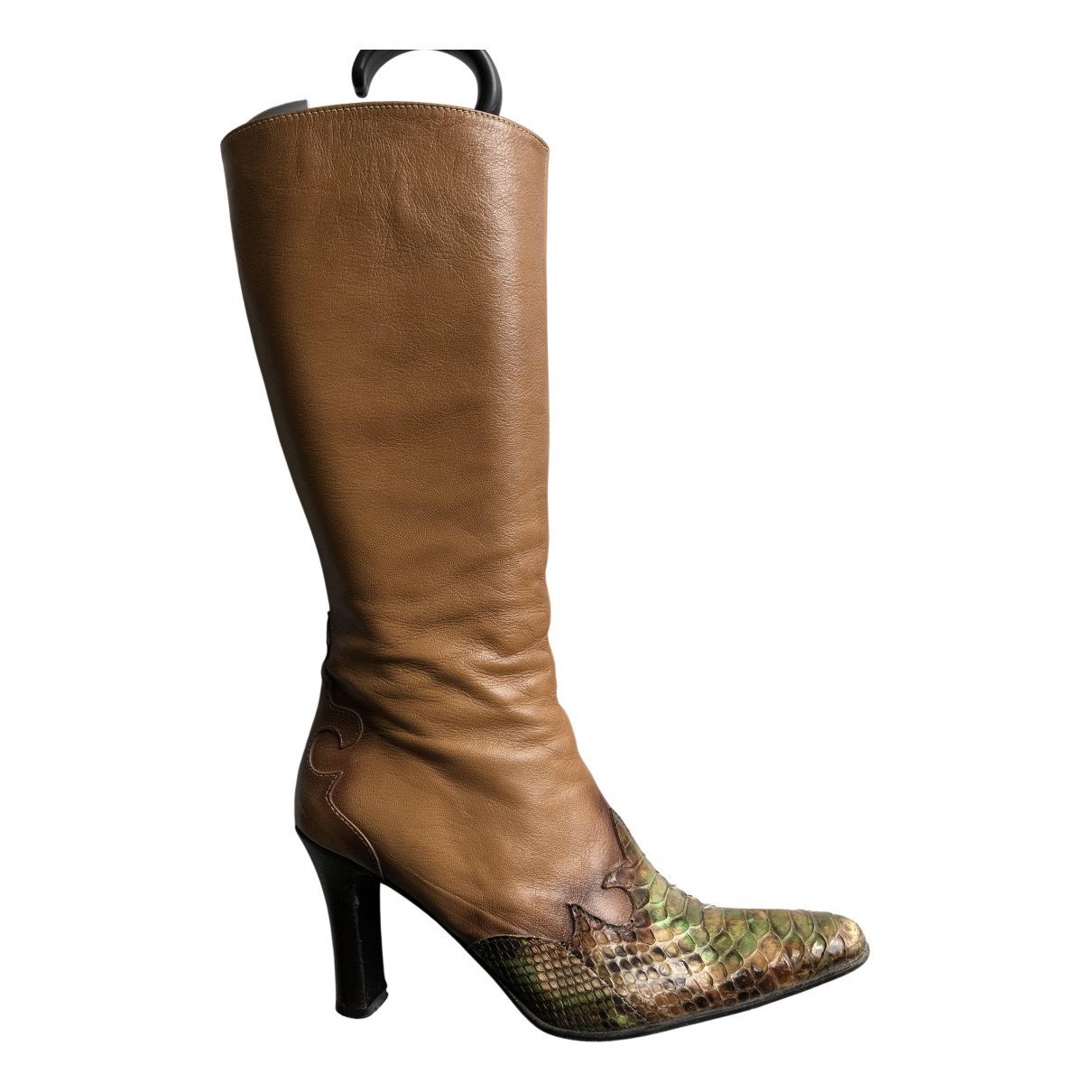 Non Signé / Unsigned N Brown Python Boots for Women 39.5 EU