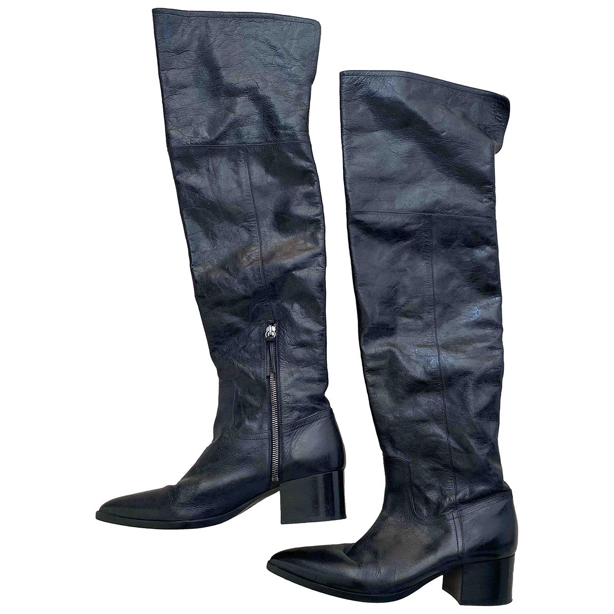 Miu Miu - Bottes   pour femme en cuir - noir
