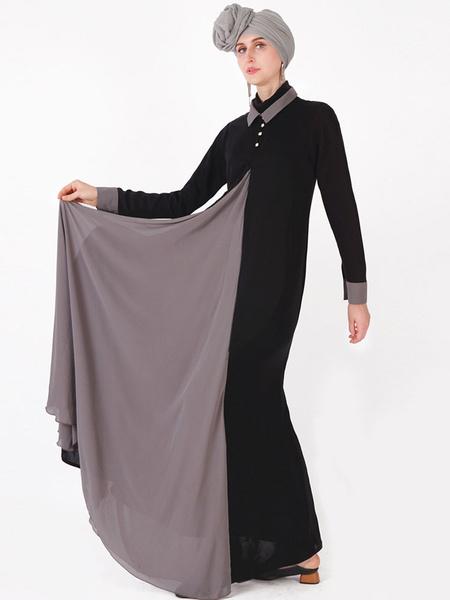 Milanoo Vestido Abaya musulman Vestido largo de manga larga con dos tonos de Kaftan de dos tonos