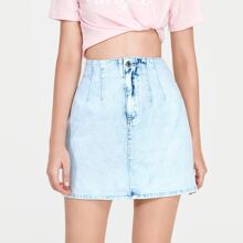 Light Wash Fold Pleat Denim Skirt