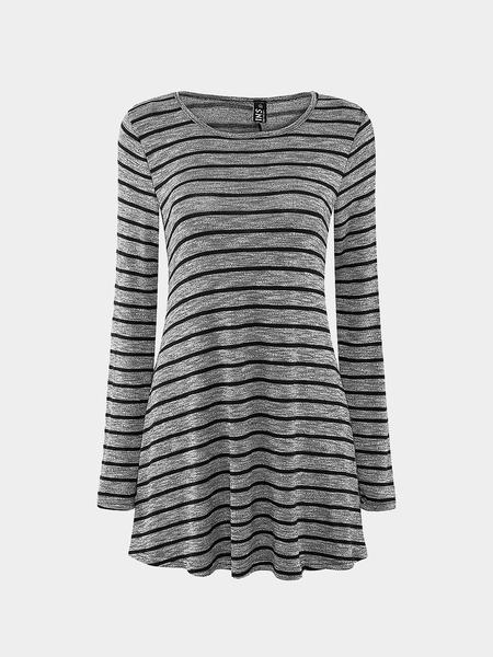Yoins High Neck Stripe A-Line Dress In Knit