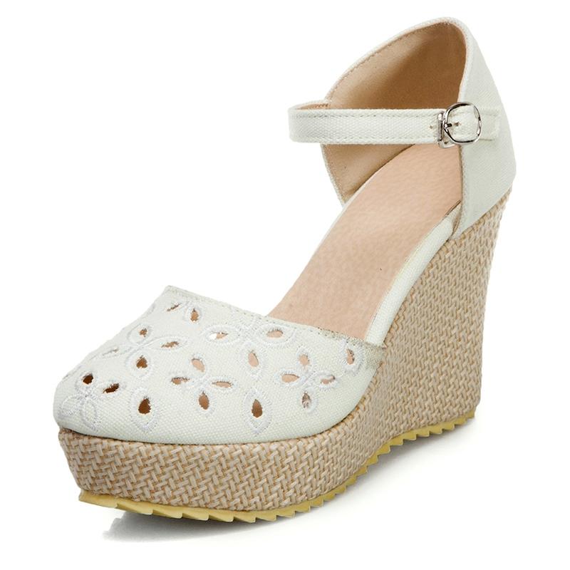 Ericdress Wedge Heel Closed Toe Heel Covering Platform Sandals