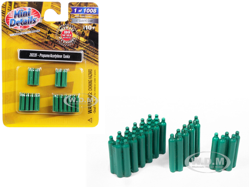 Propane / Acetyline Tanks 4 piece Accessory Set for 1/87 (HO) Scale Models by Classic Metal Works